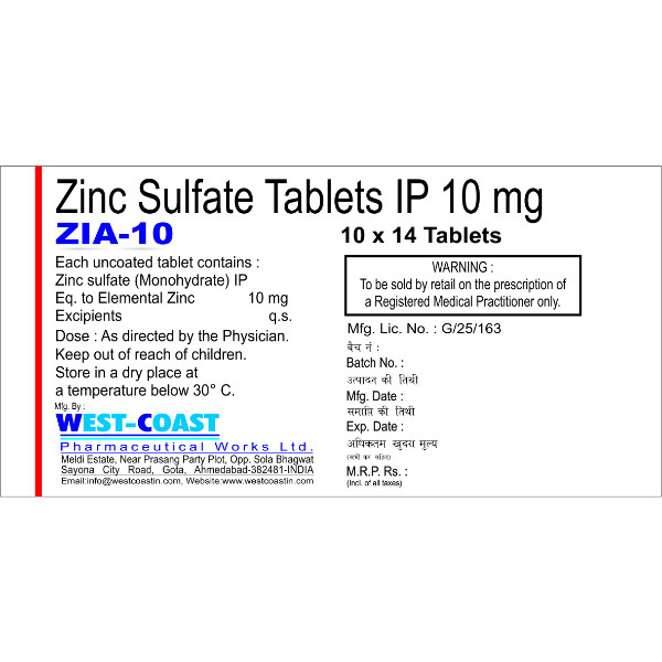 Zia 10 Tab Zinc Sulfate Tablets 10 Mg West Coast Pharmaceuticals