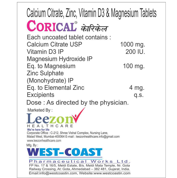 Calcium Citrate Zinc Vitamin D3 Magnesium Tablets West Coast