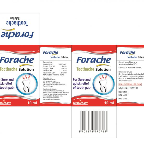 FORACHE TOOTHACHE SOLUTION BOX