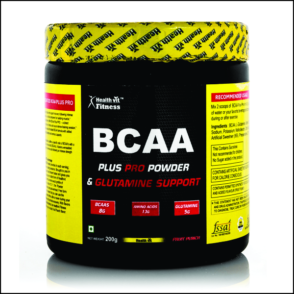 BCAA Plus Pro + Glutamine Powder, 200gm Fruit Punch Flavour
