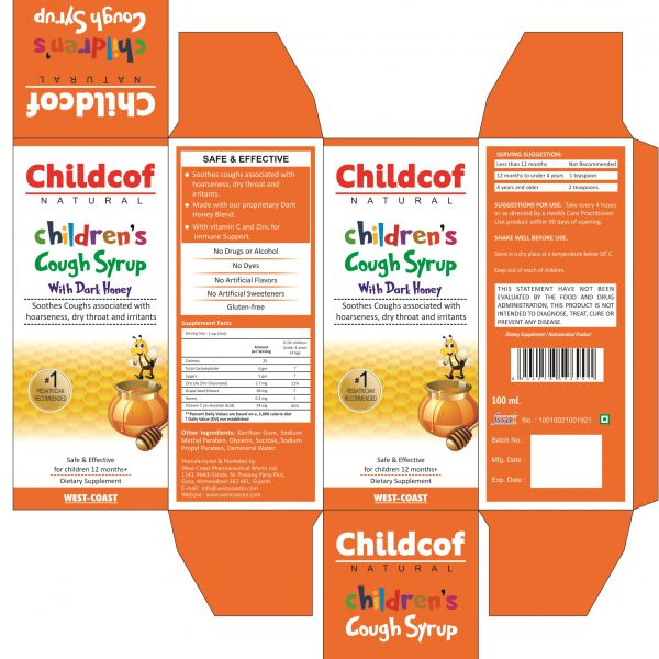CHILDCOF NATURAL CHILDREN'S COUGH SYRUP WITH DARK HONEY BOX
