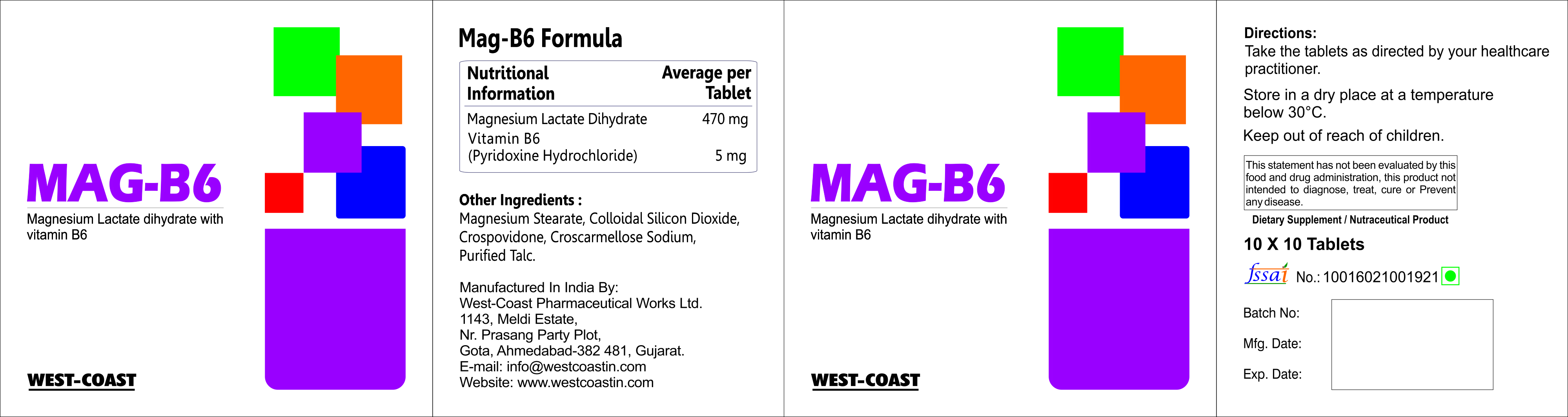 Mag-B6 Tablet With Magnesium Lactate And Vitamin B6 – West