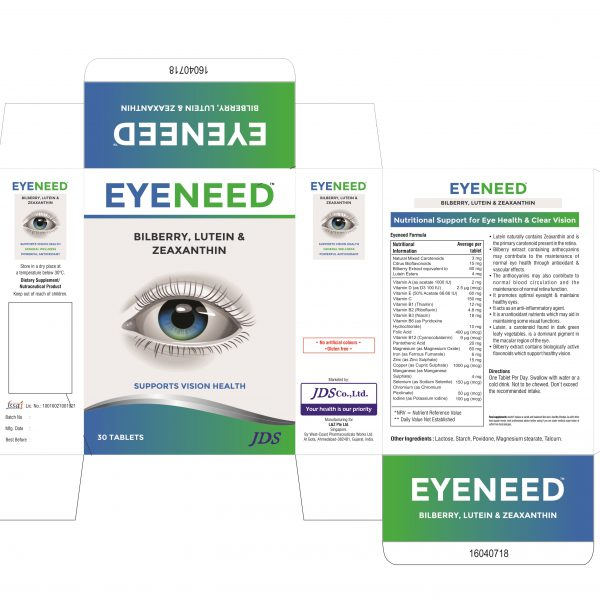 EYENEED TABLETS (JDS) (EYEVITAN) BOX