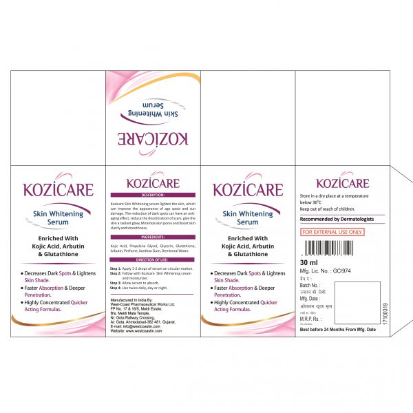 KOZICARE SKIN WHITENING SERUM BOX