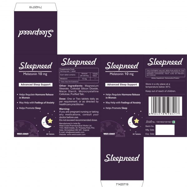 SLEEPNEED-10MG ADVANCED SLEEP SUPPORT BOX