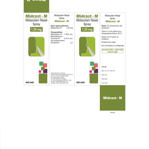 MIDCOST-M NASAL SPRAY (MIDAZOLAM NASAL SPRAY 1.25 MG) BOX
