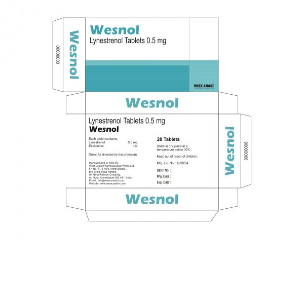 WESNOL TABLETS (LYNESTRENOL TABLETS 0.5 MG) BOX